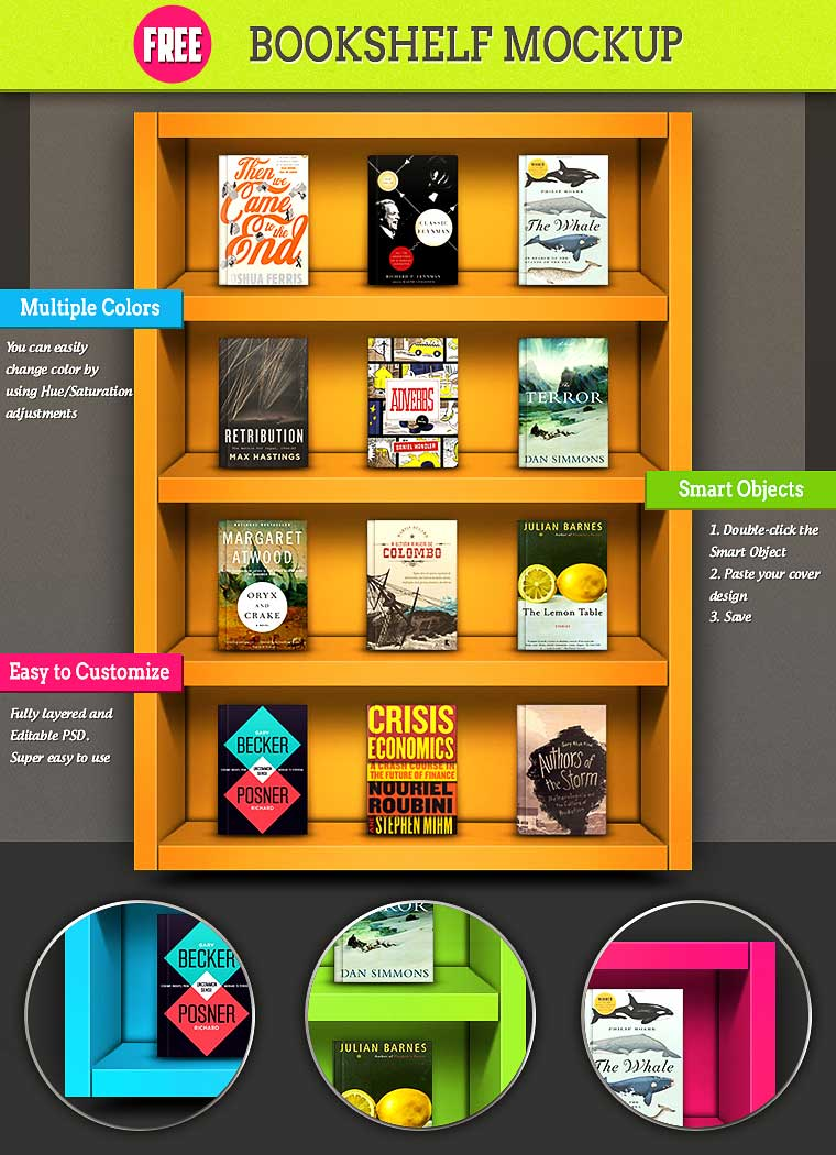 Colorful Bookshelf Mockup PSD