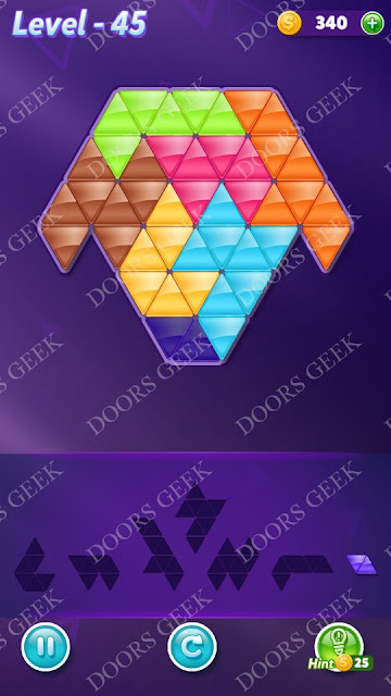 Block! Triangle Puzzle Advanced Level 45 Solution, Cheats, Walkthrough for Android, iPhone, iPad and iPod