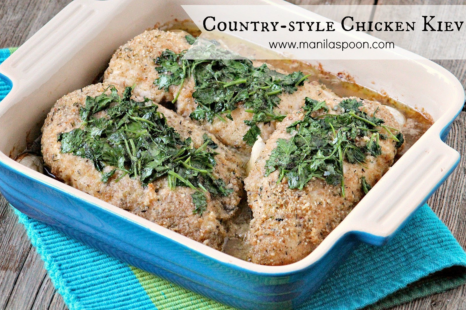Tried and tested recipe for a delicious and super easy dish - Country-Style Chicken Kiev! The chicken comes out so tender and moist and perfectly seasoned. A must for busy weeknight dinner. #countrystyle #chickenkiev #chicken #dinner