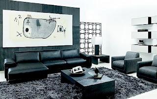 sala sofá cuero negro
