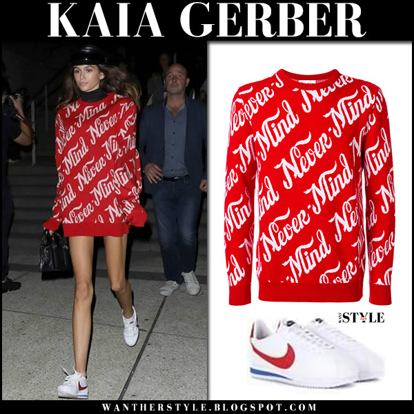 Kaia Gerber in red never mind sweatshirt and white nike sneakers Paris Fashion Week september 28 2017 model off duty style