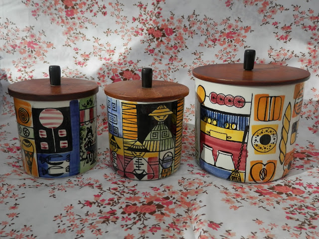 JIE Sweden retro mid century kitchen canisters. Charity shop haul.  secondhandsusie.blogspot.co.uk