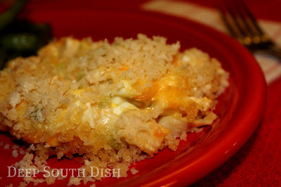 A classic potluck dish, this casserole uses the same basic elements as chicken salad, but it is baked and just delicious! I like to include the chopped boiled eggs, but those can be omitted if you prefer. Always a favorite!
