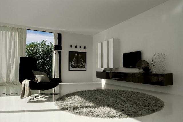 Dise o de salas minimalistas en blanco y negro ideas for Casa tipo minimalista