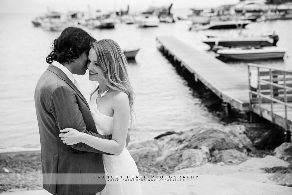 Bride and groom on Amalfi beach