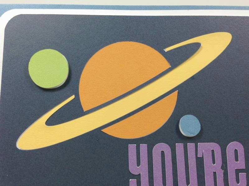 Close To My Heart Artfully Sent Cricut Cartridge Out of This World Pop-up card closeup