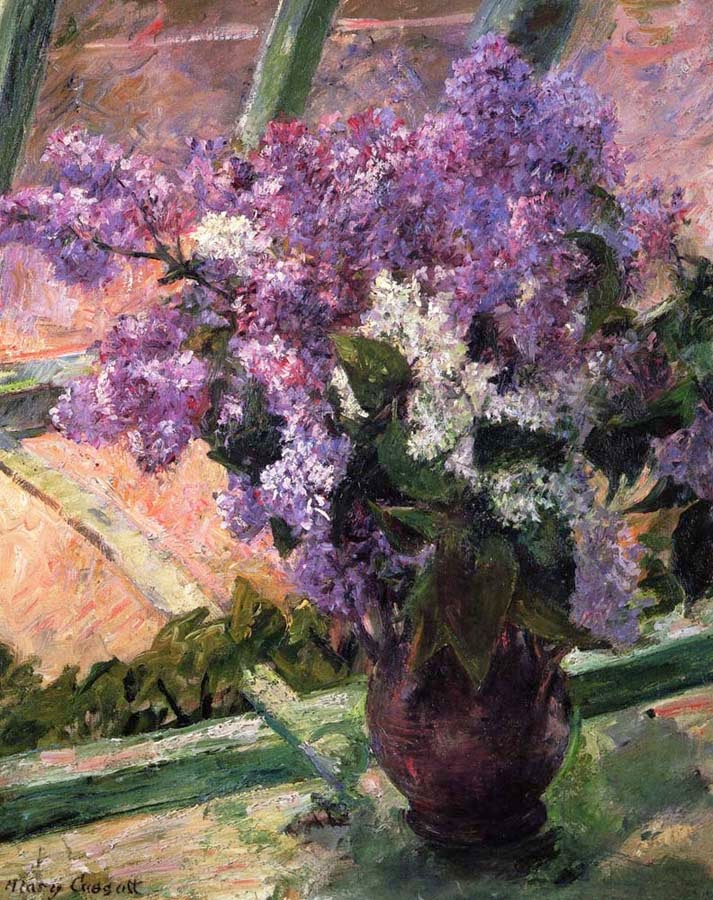 Lilás em uma Janela - Pinturas de Mary Cassatt | Mulheres na pintura