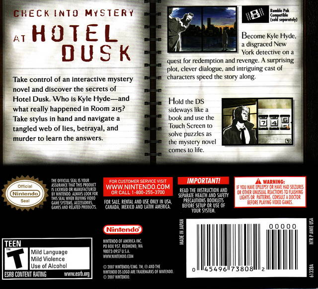 The Gay Gamer: #ADecadeofDS: Hotel Dusk