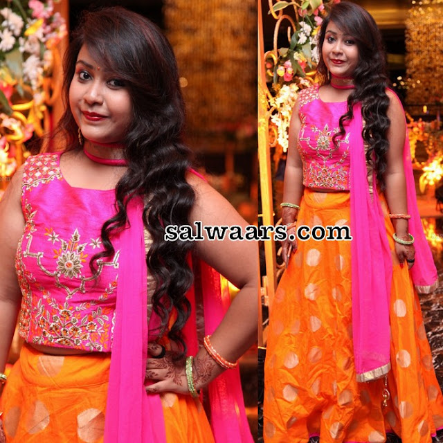 Orange Pink Crop Top Lehenga