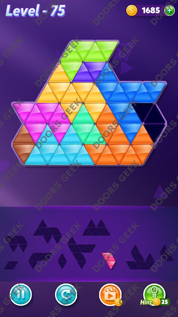 Block! Triangle Puzzle Master Level 75 Solution, Cheats, Walkthrough for Android, iPhone, iPad and iPod