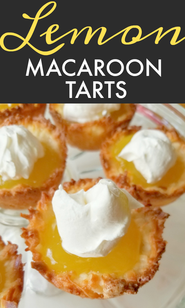 A perfect handheld dessert recipe made with sweet, light and chewy coconut macaroon tartlet shells filled with luscious, bright sweet-tart lemon curd topped with whipped cream.