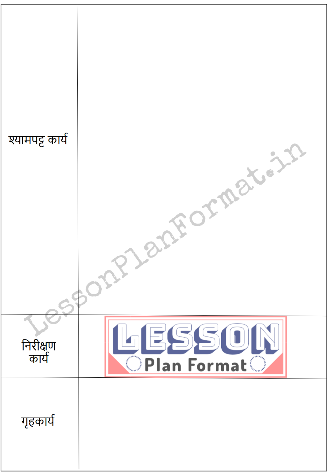 LessonPlanFormat in hindi