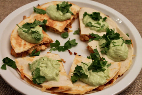 Spicy Chicken Quesadillas with Avocado Yogurt