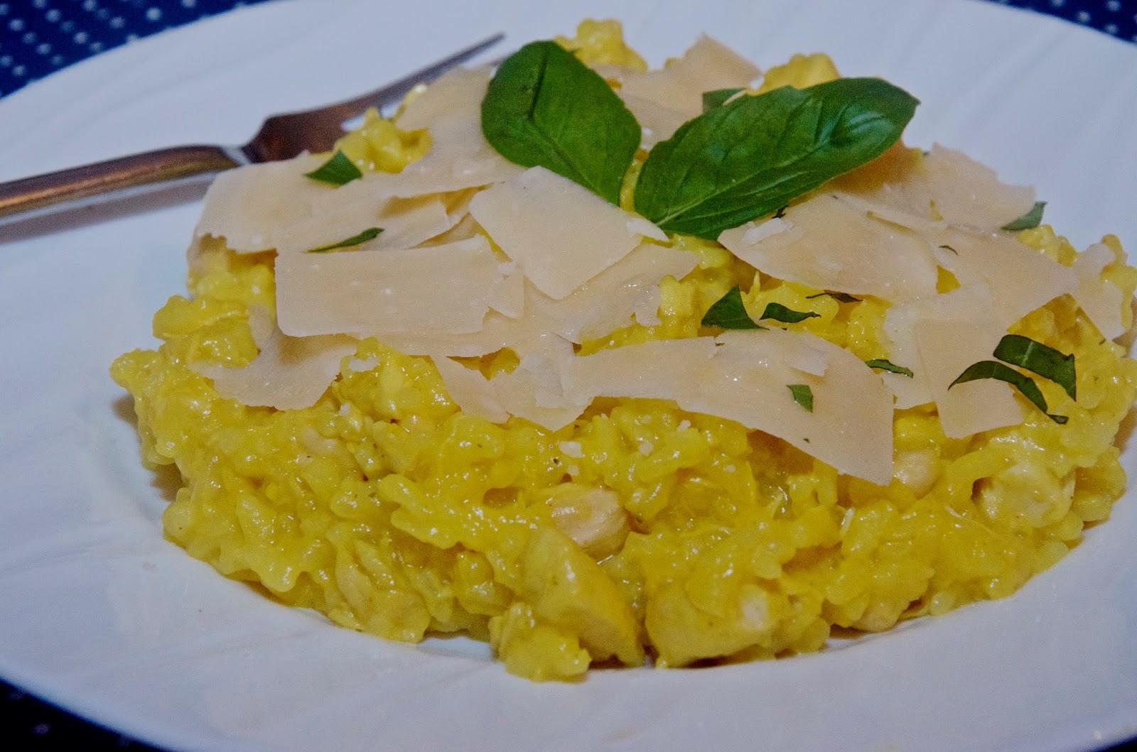 risotto, parmesan cheese and basil