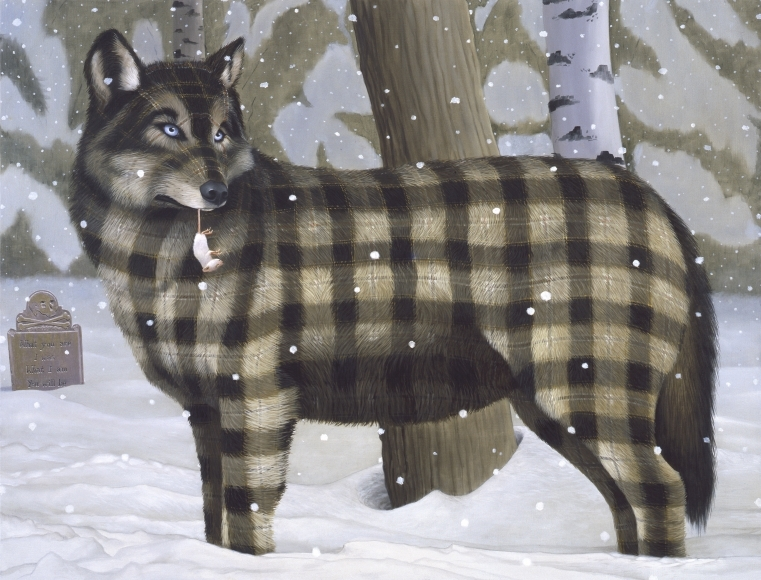 11-What-You-Are-Sean-Landers-Paintings-of-Animals-that-Swap-their-Fur-for-Tartan-Coats-www-designstack-co