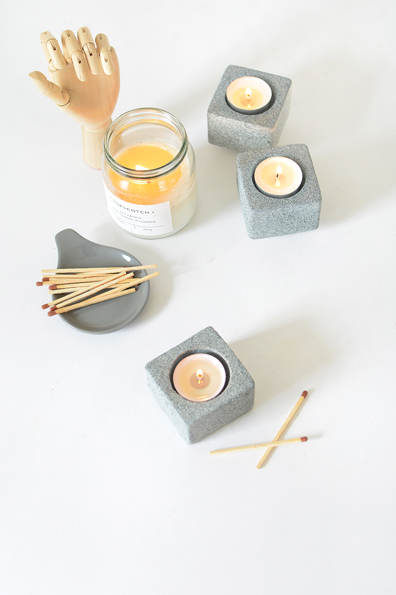 faux stone candle holder DIY project