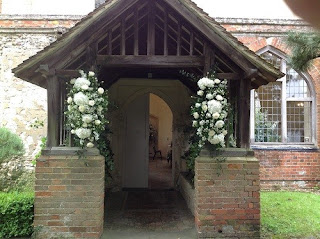 wedding flowers Suffolk, church door