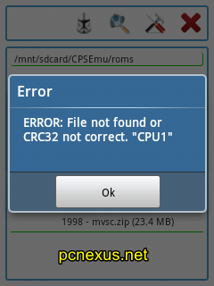 "File not found or CRC32 not correct. ""CPU1"" error cpsemu"