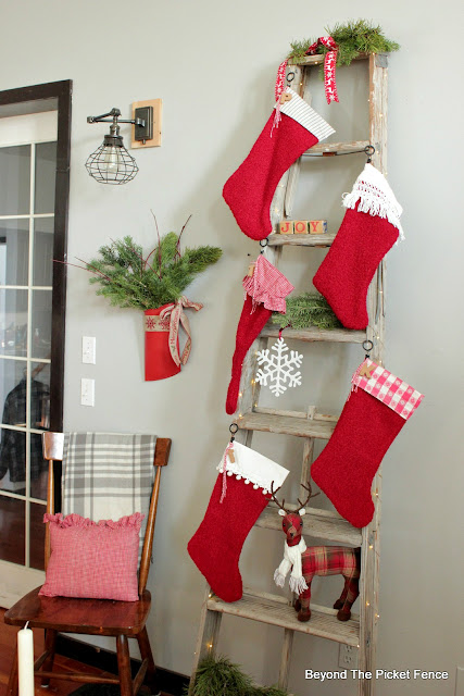 Make one of a kind stockings from thrift store fabric and tablecloths