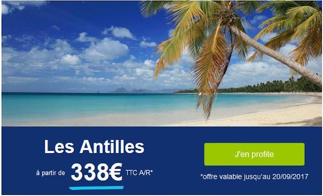 Vol Antilles 338 euros aller retour avec bagages