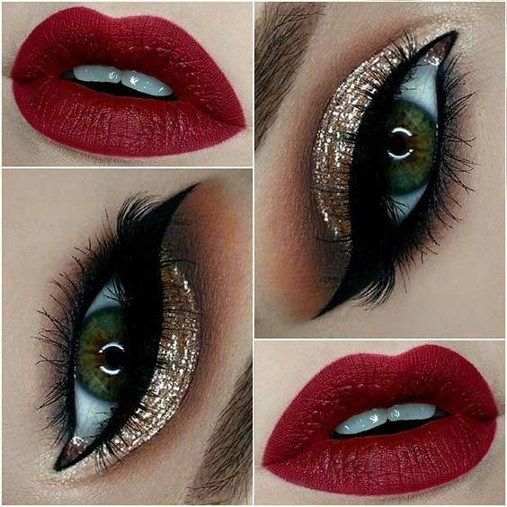 Maquiagem com tom dourado