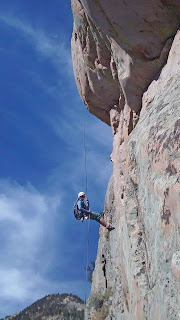 rappelling on Monitor Rock, Independence Pass