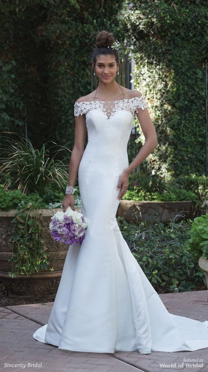 Sincerity Bridal Spring 2018 Fit and Flare Gown with Illusion Off the Shoulder Neckline