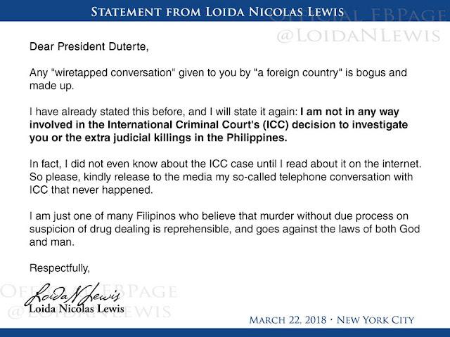 Loida Nicolas bumwelta kay President Duterte sa ligasyon nito sa kanya.
