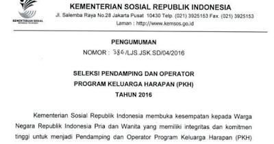Informasi Dan Edukasi Indonesia Lowongan Kerja Operator Dan Pendamping Pkh