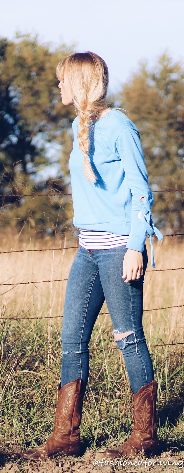 side braid. lace sleeve sweater outfit. fall style post