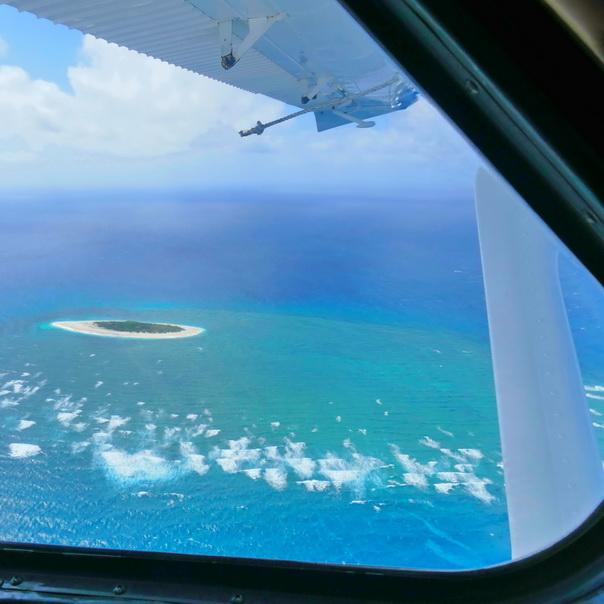 Wasserflugzeug Sicht Aussicht Heron Island Atoll Flugangst Meer