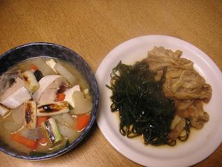 夕食の献立 献立レシピ 飽きない献立  ぶりのあら汁 生昆布と油揚げの煮付け