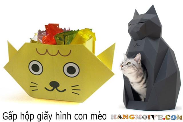 Hướng dẫn cách gấp, xếp hộp giấy đựng kẹo hình con mèo - How to make an origami cat's box
