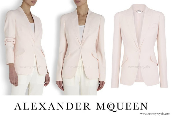 Princess Marie wore Alexander McQueen Light Pink Fitted Crepe Jacket