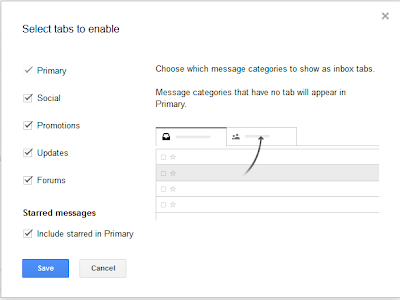 select the tabs to enable in your inbox