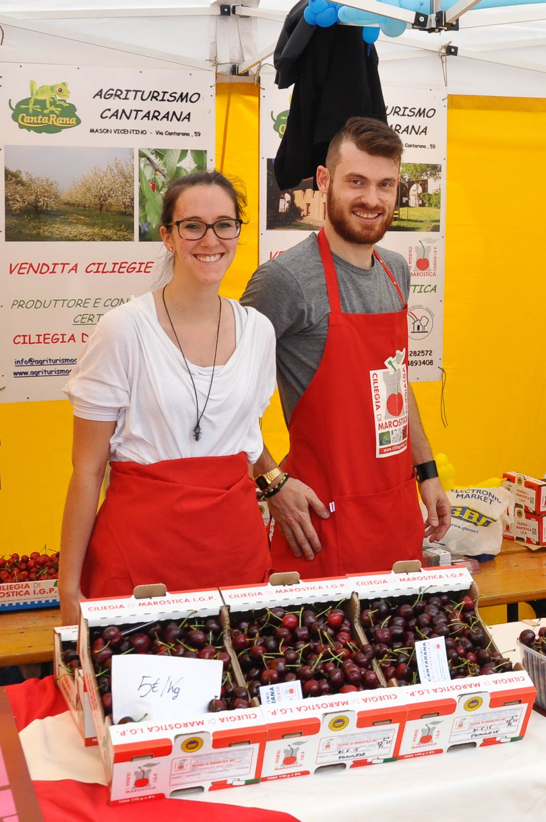 Agriturismo Cantarina at the Cherry Show Market in Marostica, Veneto, Italy