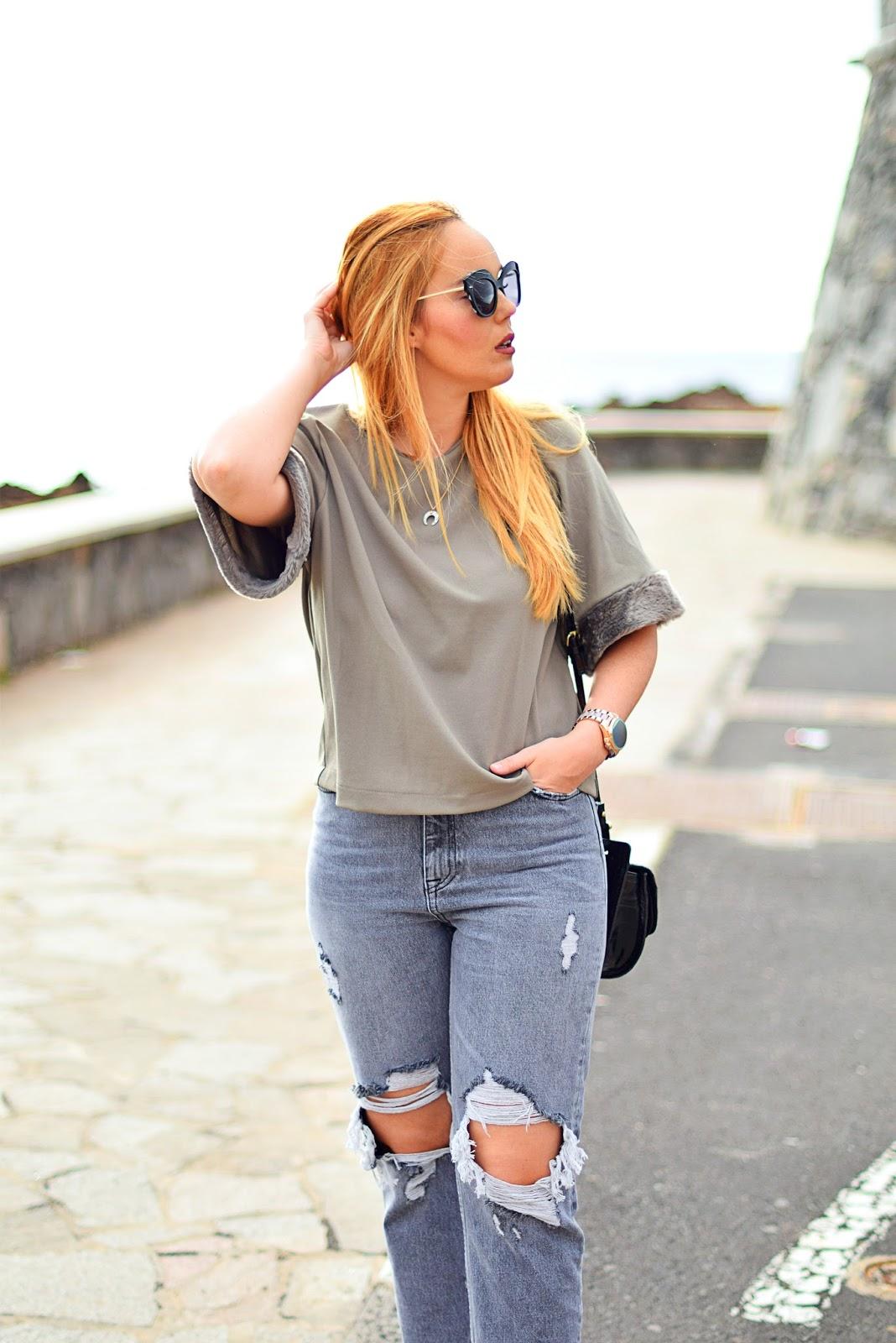 nery hdez, ripped jeans, inface, opticalh , collar de cuerno, look de diario