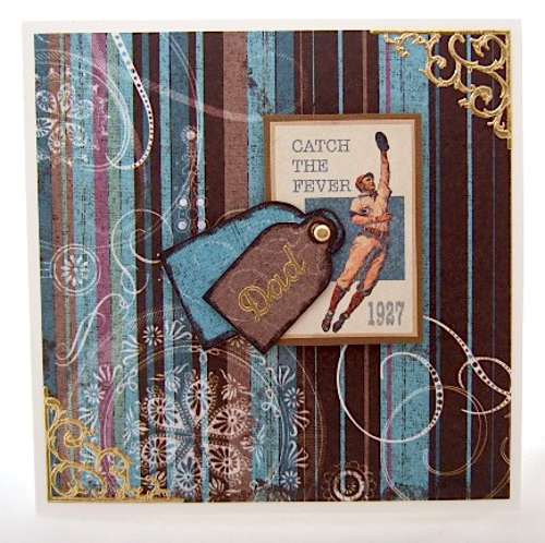 Sports greeting card for men in brown and blue