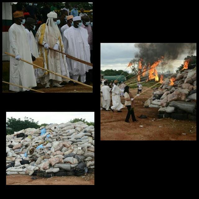 EFCC burn 24.3 Metric Tons of Drug Seized In Abuja.