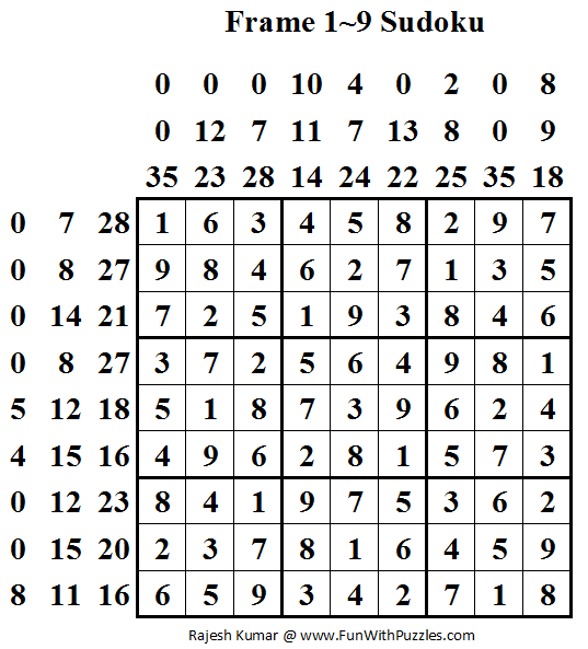 Frame 1~9 Sudoku (Daily Sudoku League #55) Solution