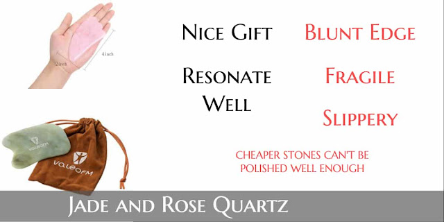 jade, rose quartz gua sha tools