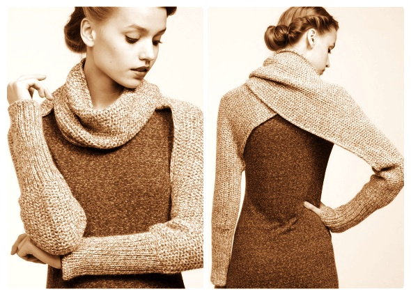 bufanda mangas crochet, bufanda chaleco tricot, bufanda mangas tela