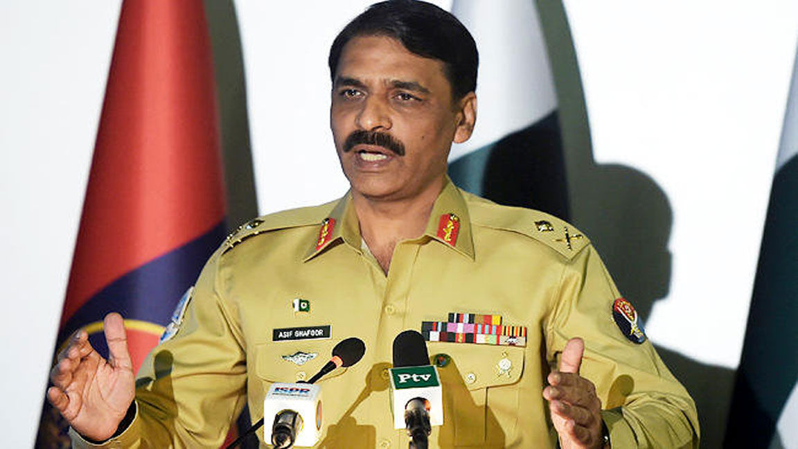 DG ISPR addressing a news conference