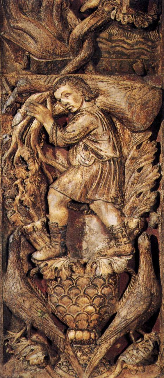 13th century bas-relief of the month of January, Central door, Basilica San Marco, Venice