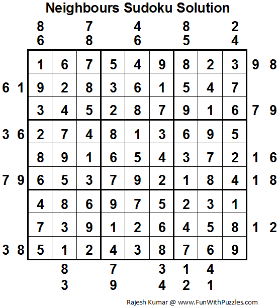 Neighbours Sudoku (Fun With Sudoku #19) Solution