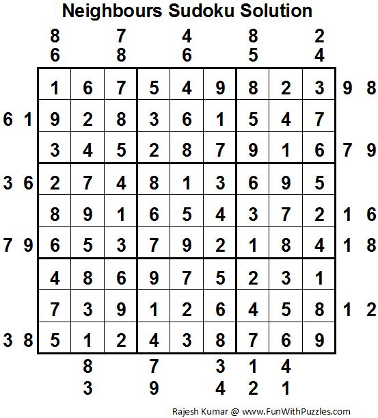 Neighbours Sudoku (Fun With Sudoku #19) Solution