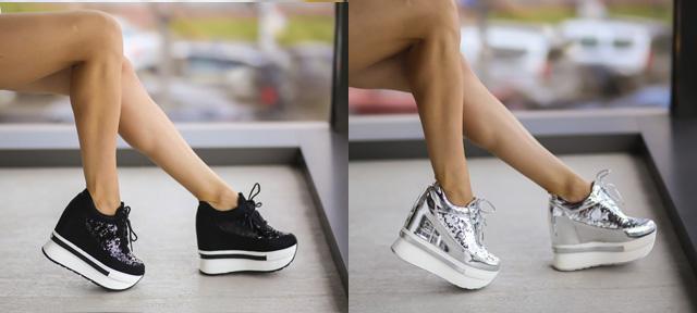 Adidasi cu platforma argintii, negri la moda ieftini de calitate online