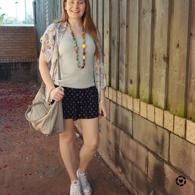awayfromblue instagram | monochromatic outfit with colourful beaded necklace print mixing shorts and kimono casual SAHM outfit