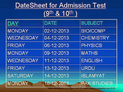 District Jinnah Public School and College Satt Sirra Mandi Bahauddin New Judicial Complex, has announced the DateSheet for Admission Test for Nine 9th and Ten 10th Class for year 2013 for Biology, Computer, Chemistry, Physics, Math, English, Urdu, Islamyat and Pakistan Studies subjects.