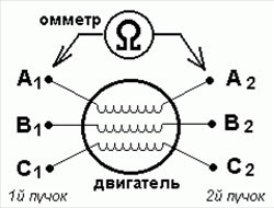 определения пар обмоток трехфазного двигателя